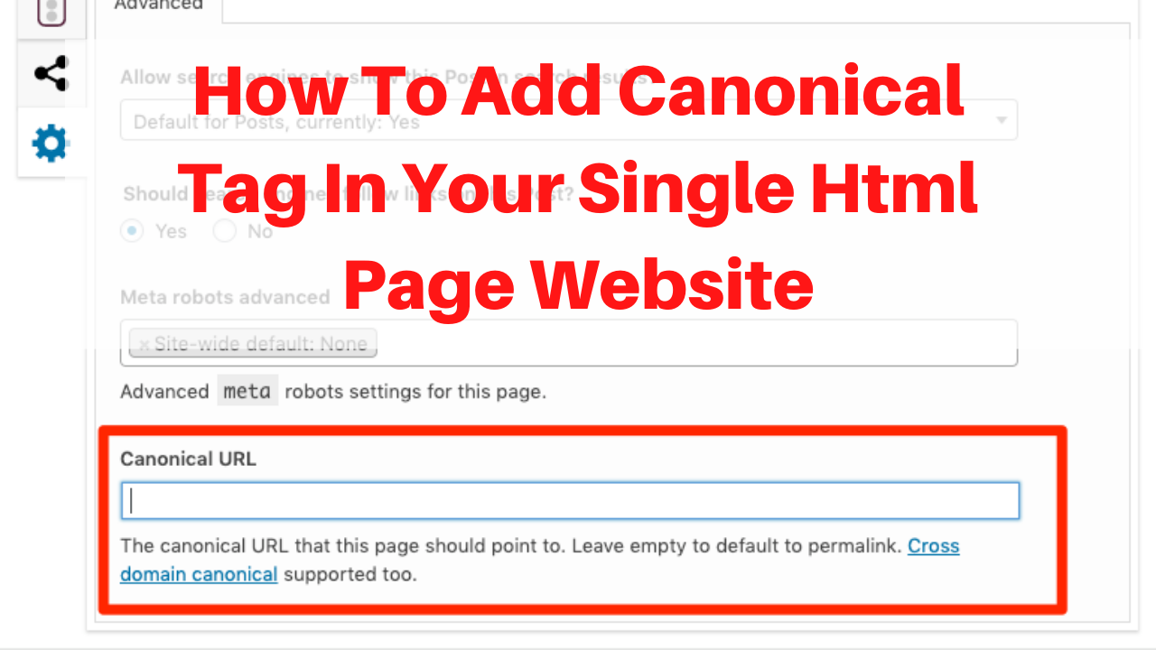 How to add canonical Tag in your single html page website