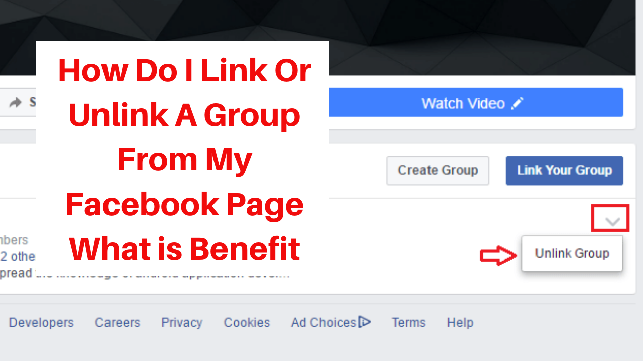 How do I link or unlink a group from my Facebook Page what is benefit