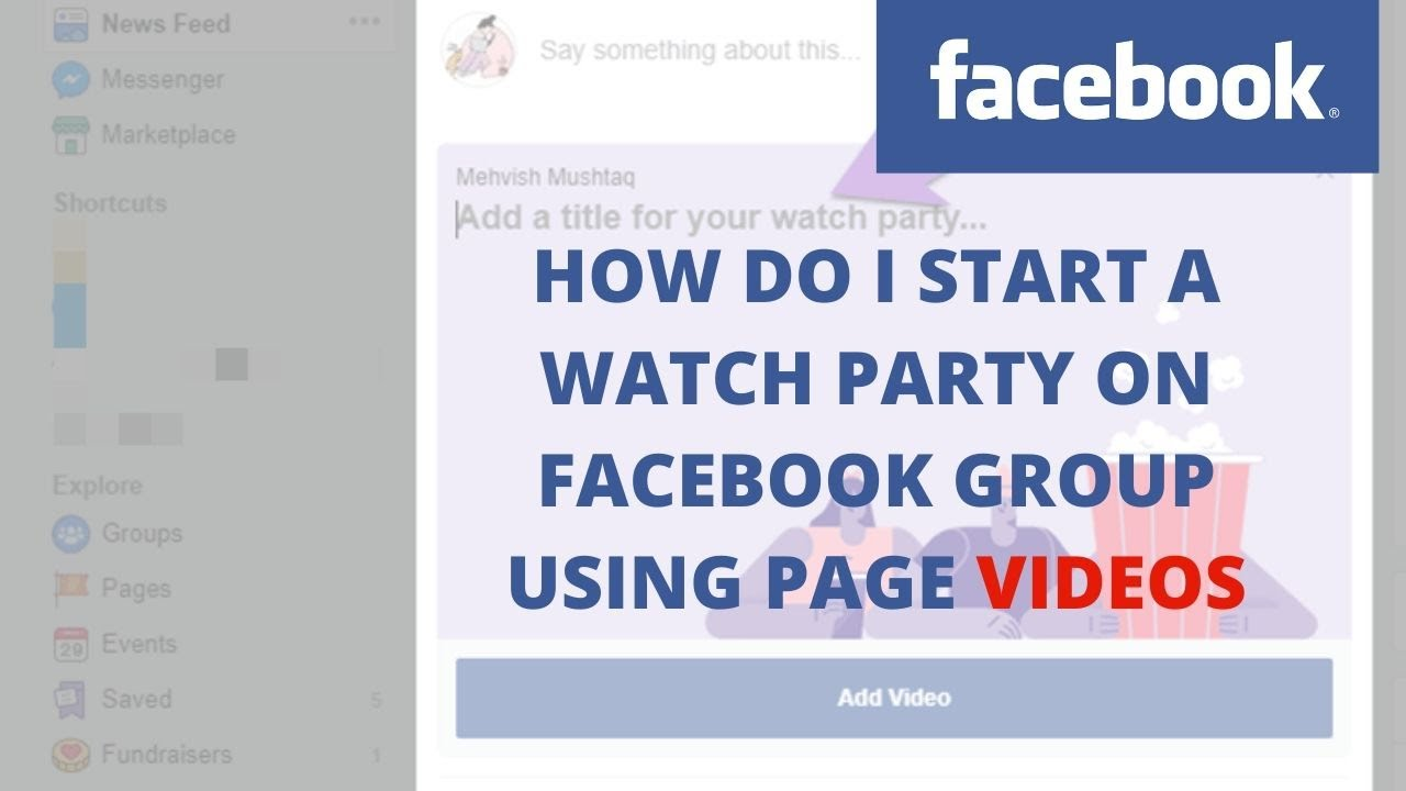 How do I start a watch party on Facebook group using page videos