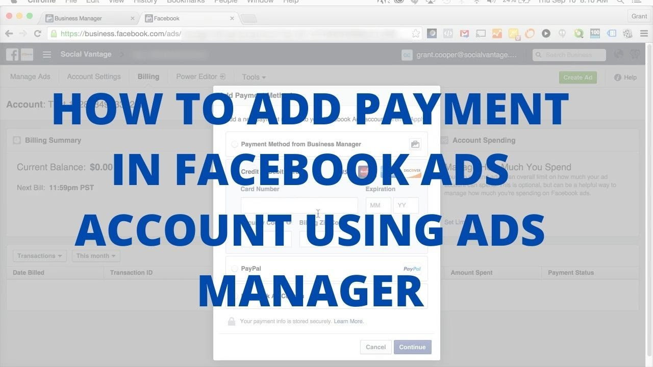 How to add payment in Facebook ads account using ads manager