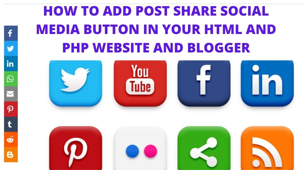How to add post share social media button in your html and php website and blogger