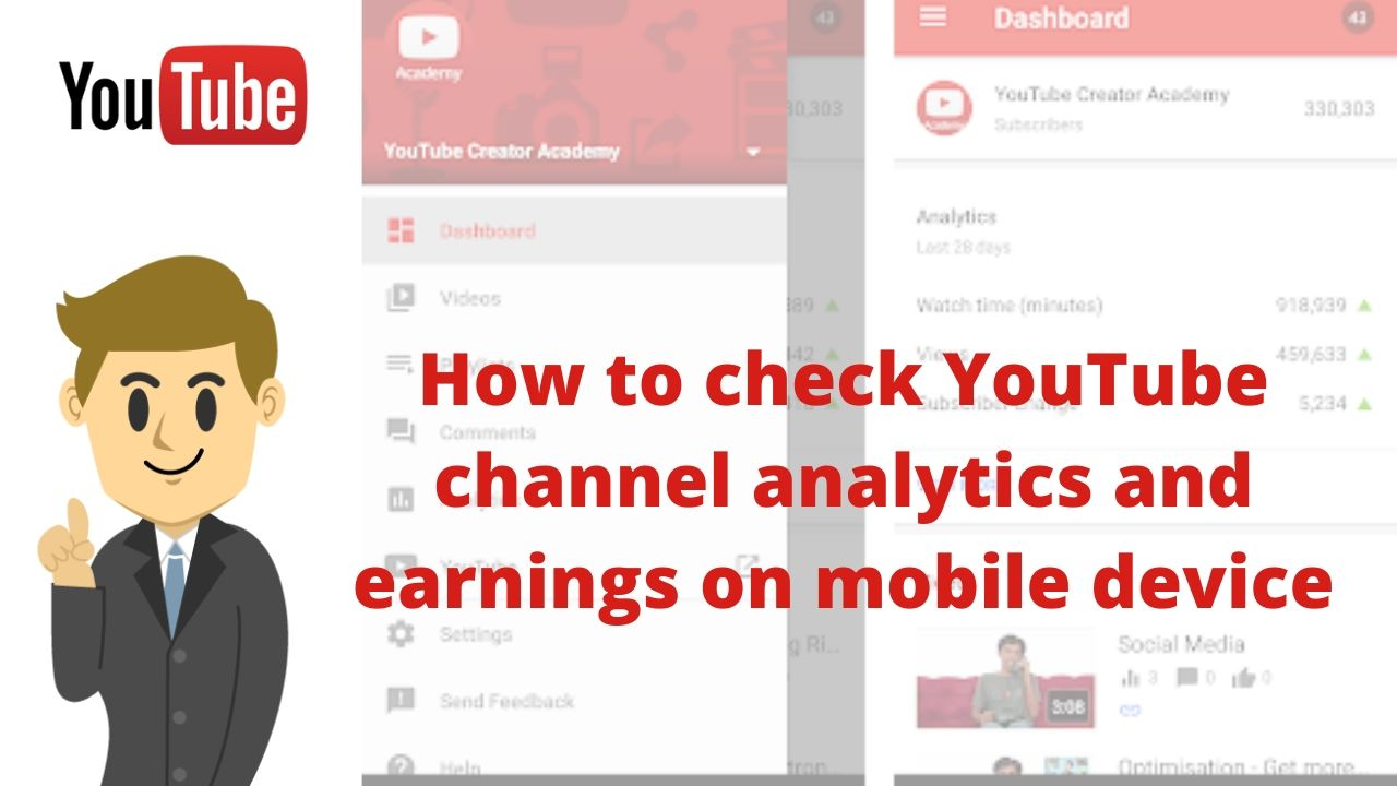 How to check youtube analytics and earnings on mobile device