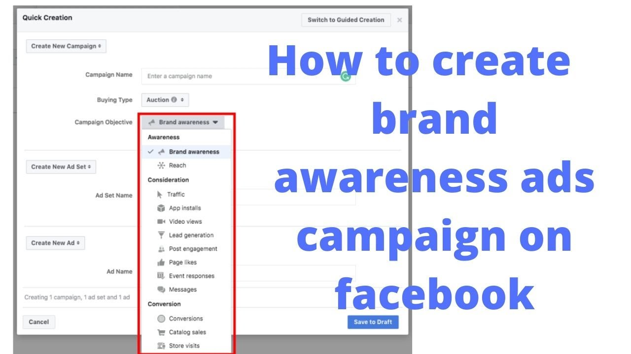 How to create brand awareness ads campaign on facebook