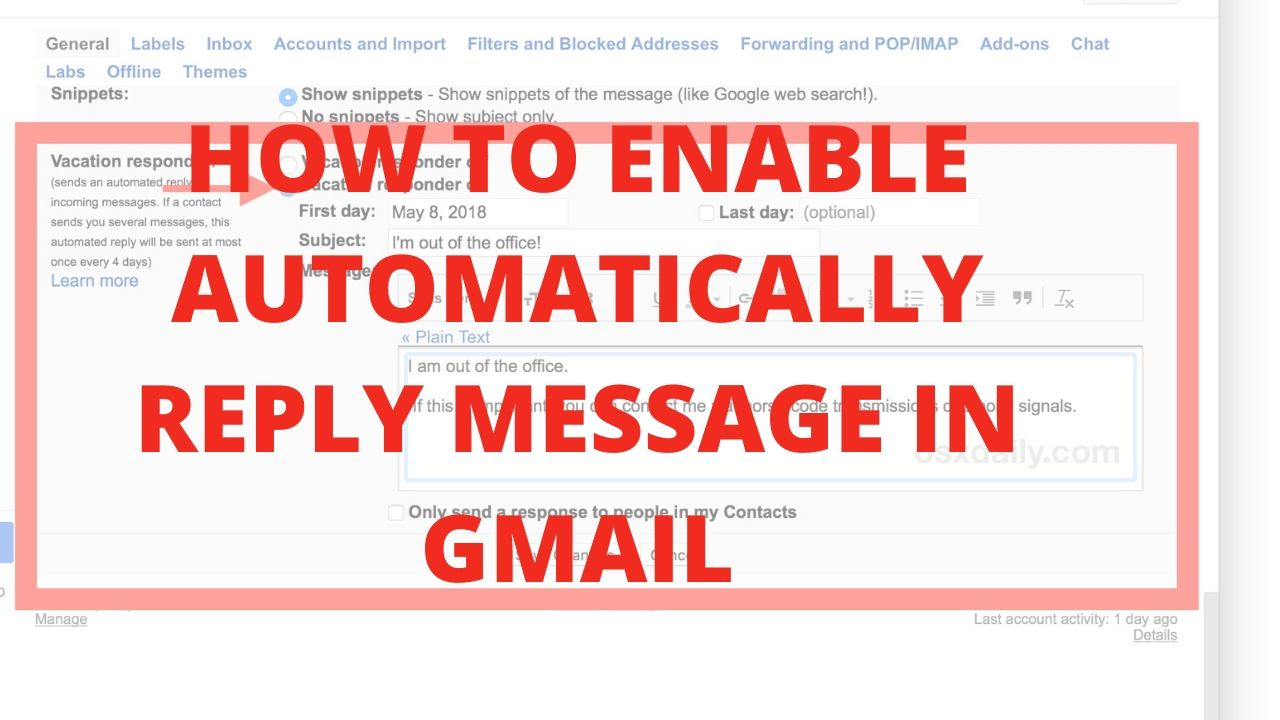 How to enable Automatically reply message in gmail