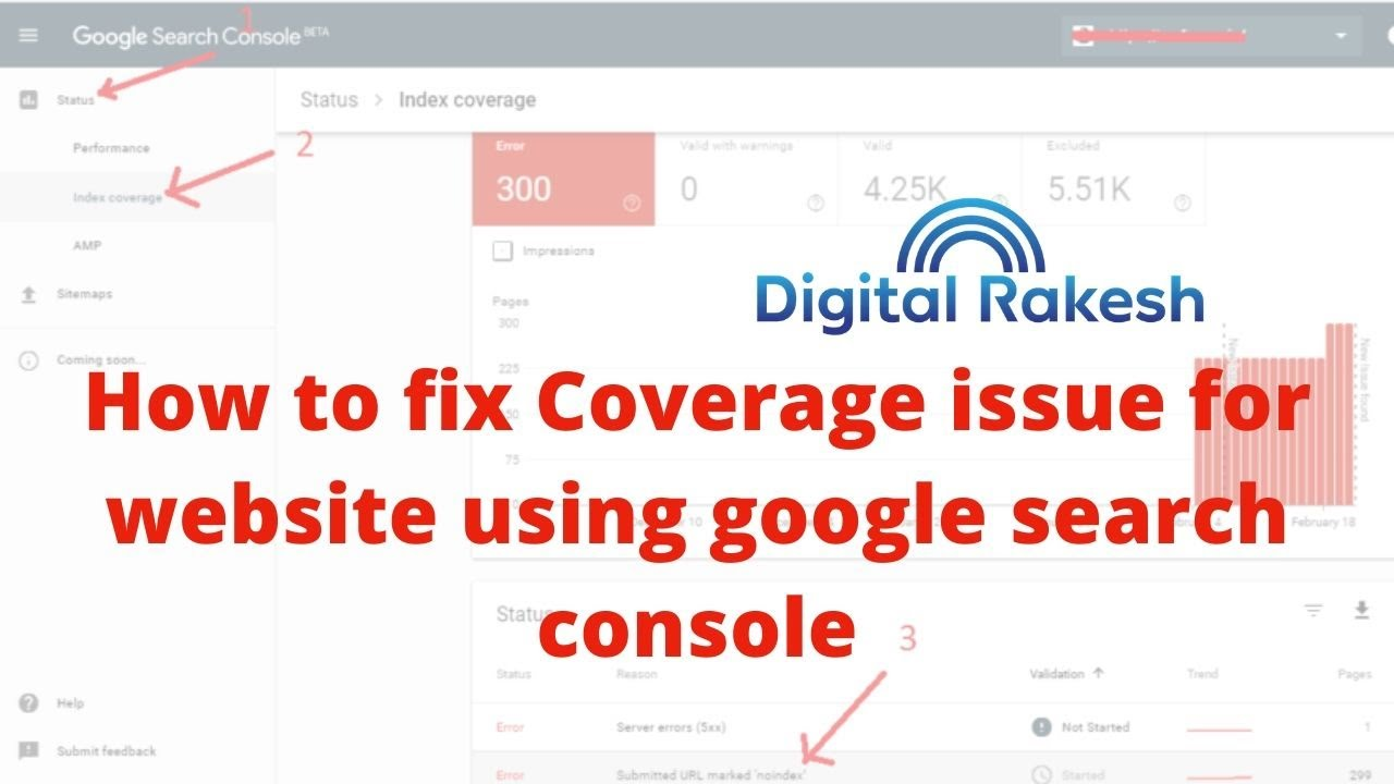 How to fix Coverage issue for website using google search console