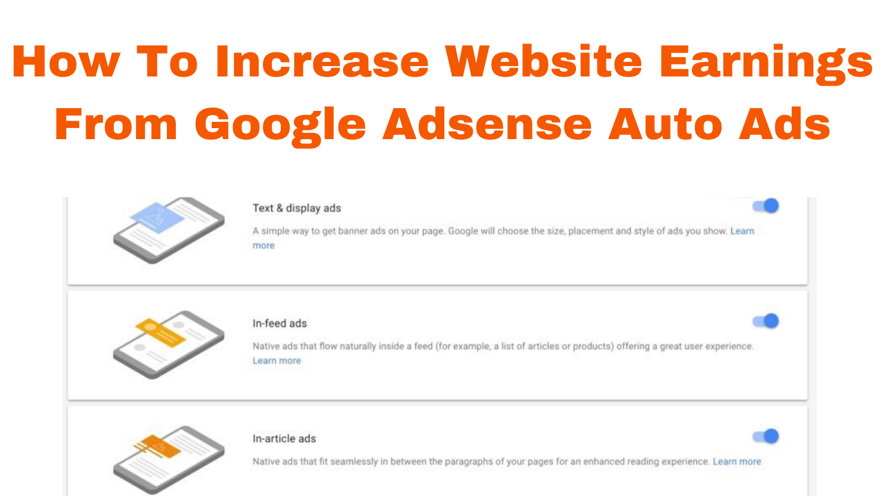 How to increase website earnings from google adsense auto ads