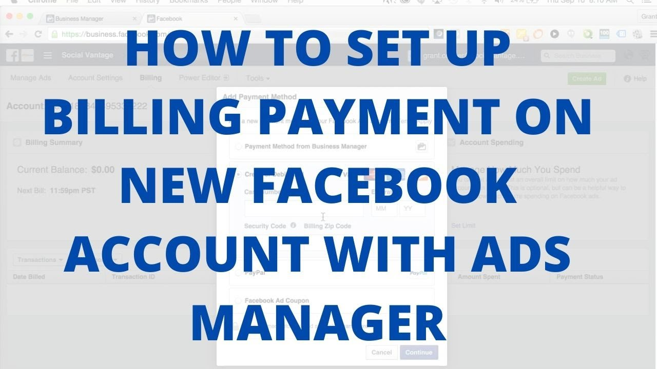How to setup billing payment on new Facebook account with ads manager