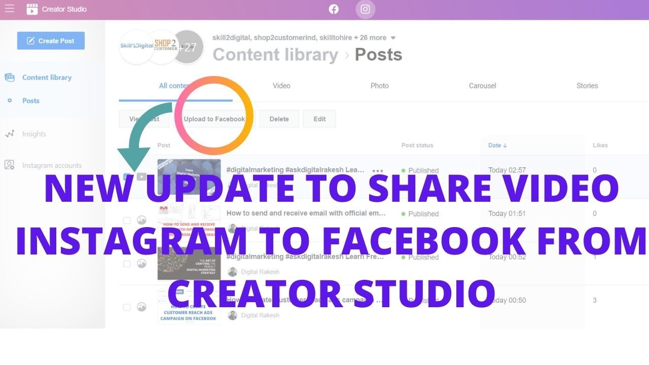 New update to share video instagram to facebook from creator studio