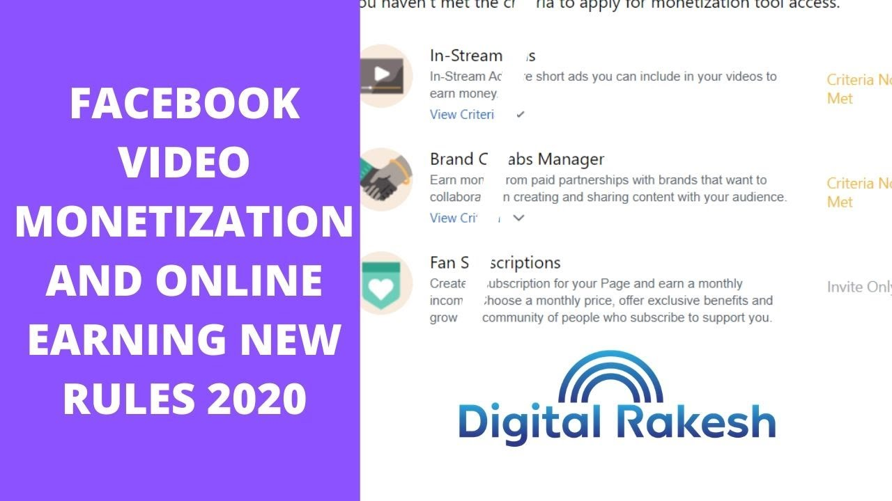 facebook video monetization and online earning new rules